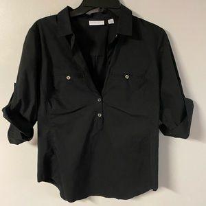 Woman's New York & Co Black button down shirt sz S
